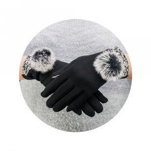 RUKAVICE TOUCH GLOVES BIG POMPON ČERNÉ