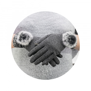 RUKAVICE TOUCH GLOVES BIG POMPON ŠEDÉ