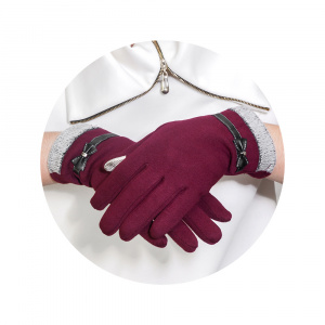 RUKAVICE TOUCH GLOVES BOW VÍNOVÉ